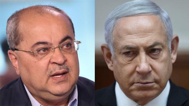 Ahmad Tibi, right, and Benjamin Netanyahu (Photo: Avi Moalem)