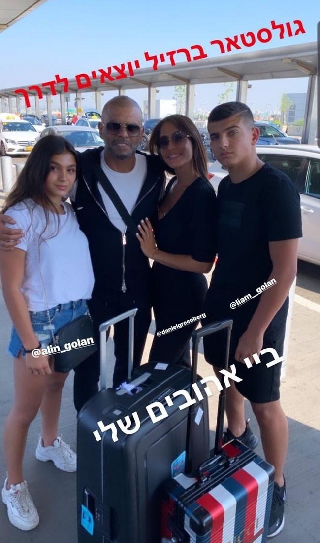 באו להפרד. אייל גולן, ילדיו אלין וליאם ובת הזוג דניאל גרינברג (צילום: אינסטגרם)