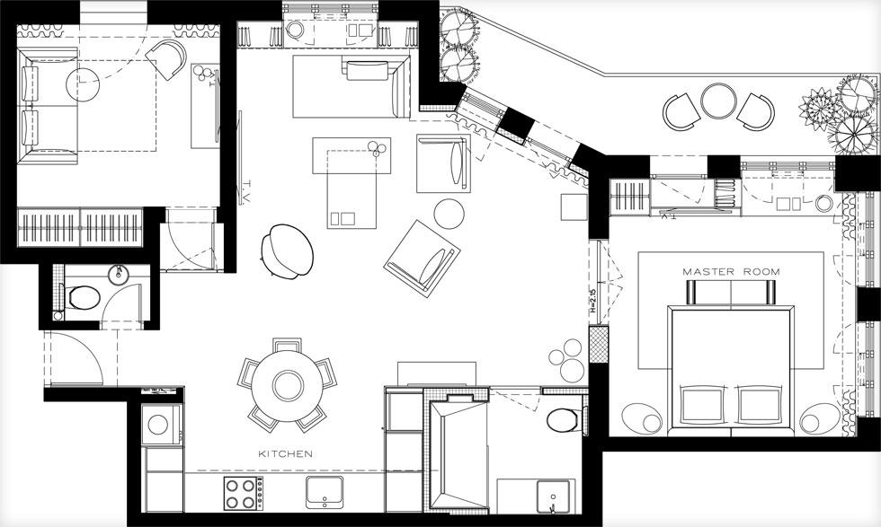 תוכנית הדירה - 82 מטרים רבועים - שבה בולט קו אלכסוני. במרכז סלון ומטבח, משני הצדדים חדרים. שינוי מבני כמעט לא נעשה כאן, למעט הסרה של קירות קטנים שהסתירו את הכניסה לחדר השינה הראשי. עיקר המהפך הוא בעיצוב הפנים (תוכנית: אבירם-קושמירסקי)