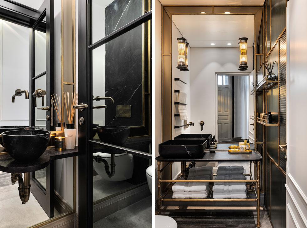 מימין: חדר הרחצה, עם אלמנטים קלילים מפליז וארון כיור שחור. משמאל שירותי האורחים, הנמצאים לצד דלת הכניסה (צילום: עודד סמדר)