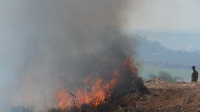 Fire near Kibbutz Nir Am (Photo: Avi Roccah)