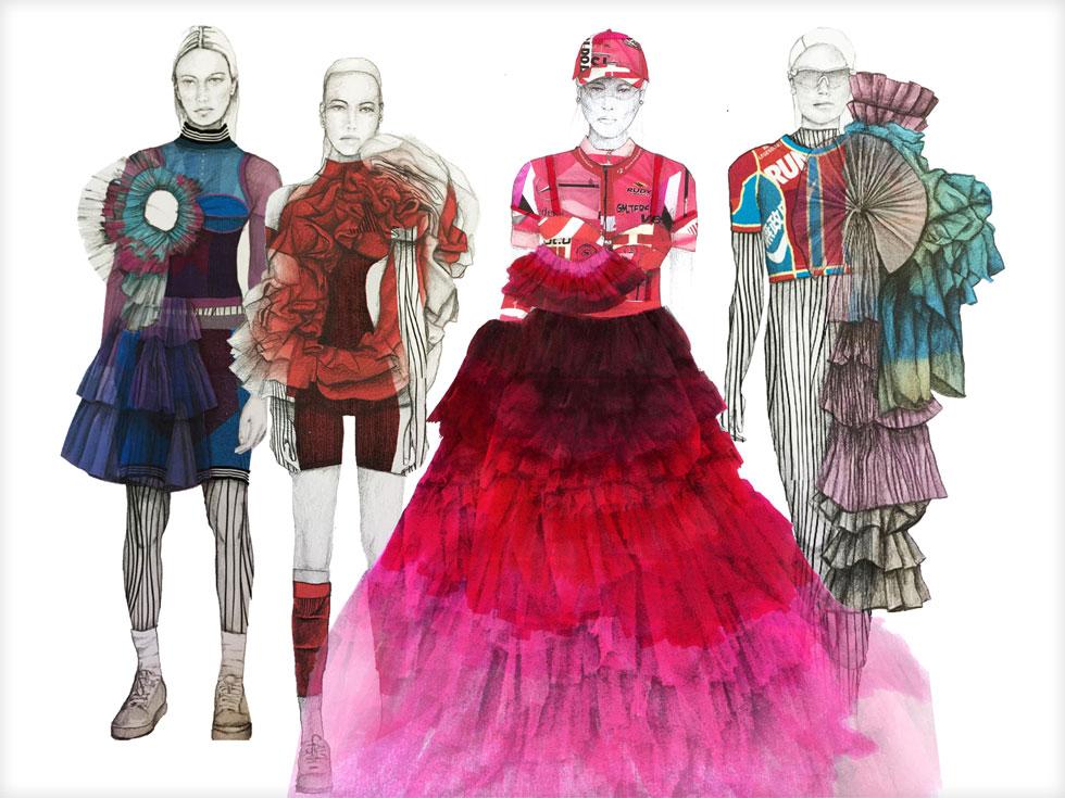 איורי אופנה הם דרך עבור המעצבים להראות את החזון שלהם ללא מגבלות ולאפשר לצופים לפגוש את היצירתיות בלי אילוצים טכניים. הילה כהן, Born To Run (איור: הילה כהן)