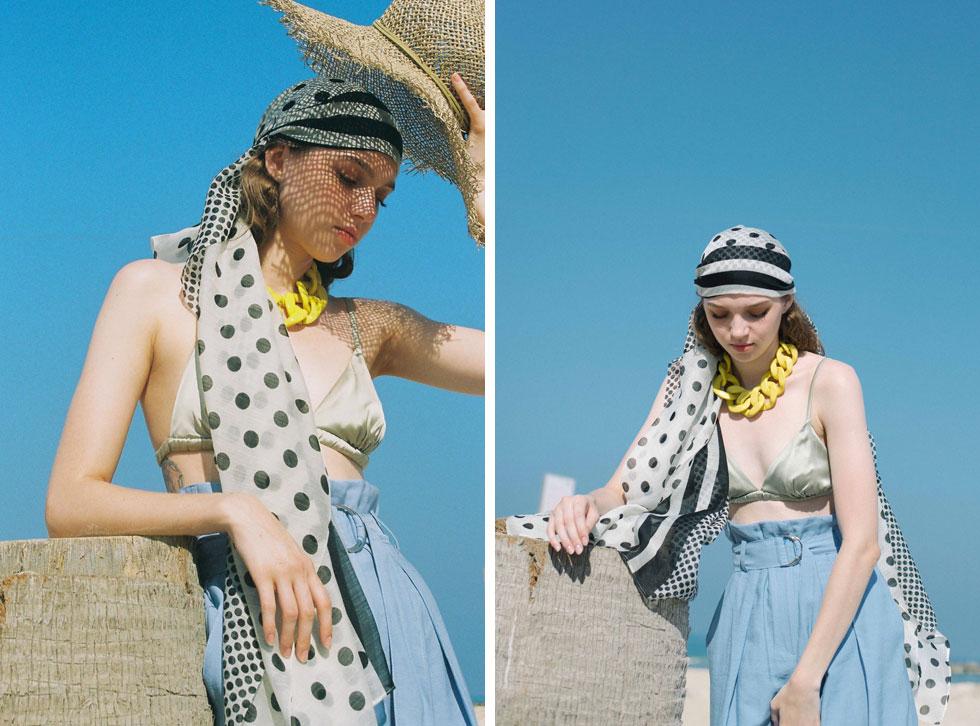 בגד ים וכובע - Cos | מכנסיים, סבינה מוסייב | צעיף, דניאלה להבי | שרשרת, H&M (צילום: הילה כדי)