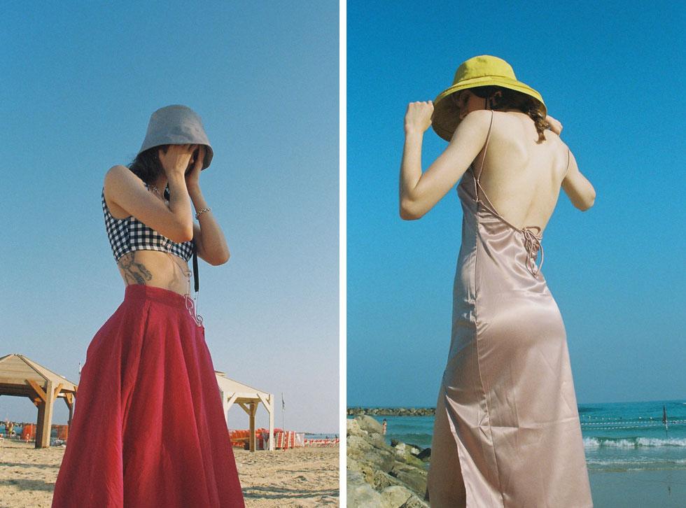 מימין: שמלה, עדיקה | כובע, ג'סטין. משמאל: בגד ים, אגלי דקלינג | חצאית, H&M | כובע ושרשרת - Cos | צמיד, Eli art to wear (צילום: הילה כדי)