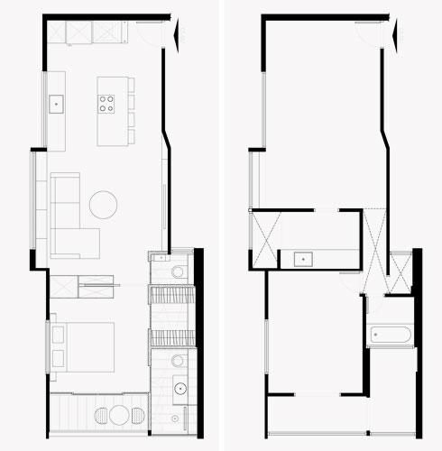 מימין: תוכנית הדירה לפני השיפוץ. משמאל: אחרי (תכניות: סטודיו מטקה)