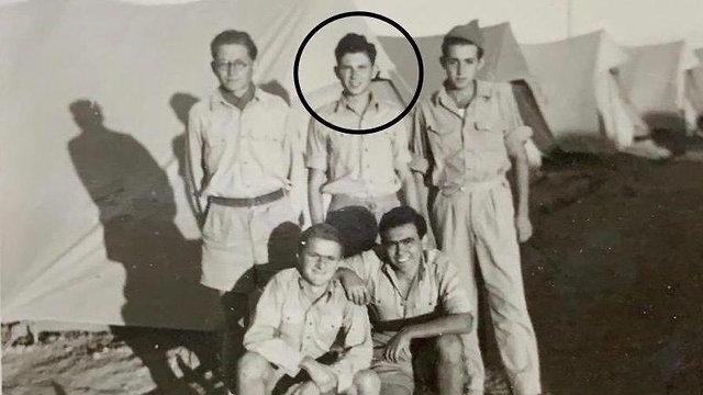 Yehuda Neuman, circled, as a POW in Jordan after the 1948 war
