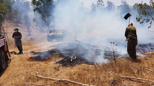 Fire started by incendiary balloons in Israeli community bordering Gaza  (Photo: JMF-KKL)