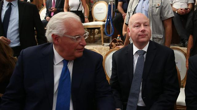 U.S. envoy Jason Greenblat with U.S. ambassador Freidman at inaugration of e. Jerusalem Pilgims Road (Photo: Ohad Zwigenberg)