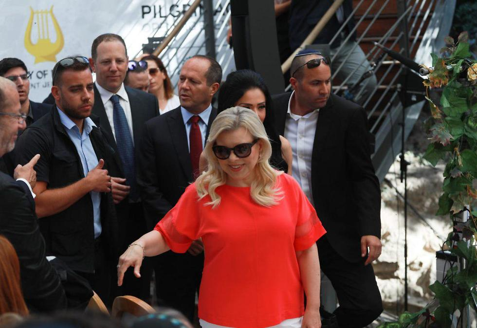 """Wife of Prime Minister Netanyahu at unveiling of """"Pilgrims Road"""" (Photo: Ohad Zwigenberg)"""