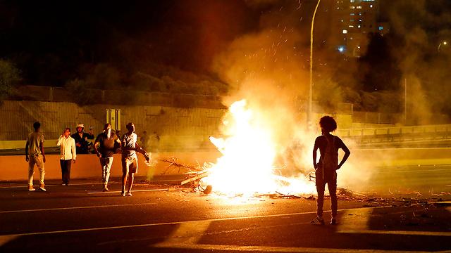הפגנת יוצאי אתיופיה נתניה  (צילום: AFP)