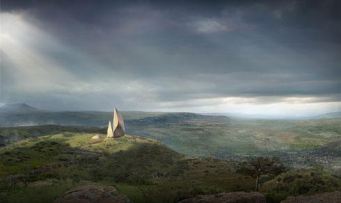 המוזיאון המתוכנן בקניה. אבני צור במצוק דרמטי (הדמיה: copyright MAQE)