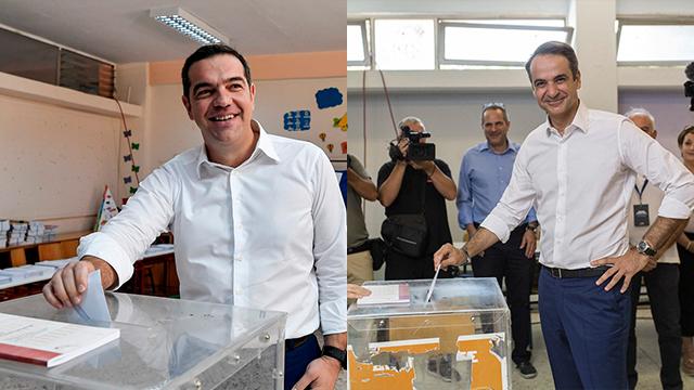 Los primeros y futuros primeros ministros votan en las elecciones griegas (Foto: AFP, MCT)