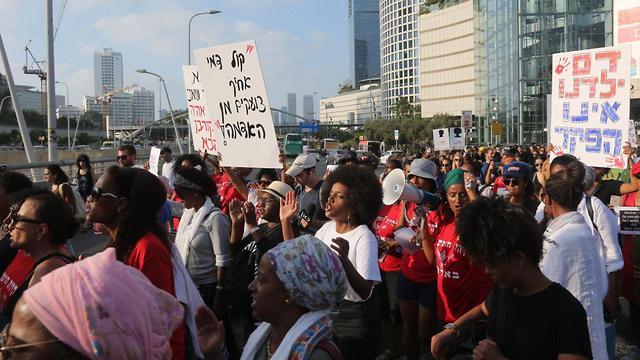 Protests in Tel Aviv on Monday  (Photo: Moti Kimchi)