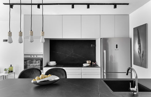 נישה שחופתה במשטח שחור, כמו הדלפק. ''זו לא דירה שמבשלים בה, אלא ששוהים בה בזמן שלא מבלים בחוץ'' (צילום: עודד סמדר)