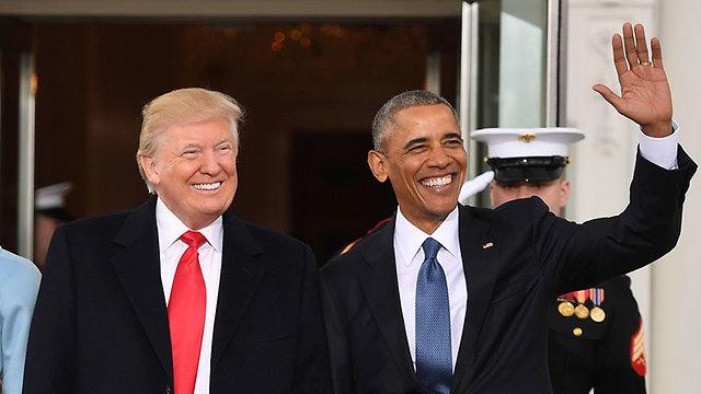 ברק אובמה דונלד טראמפ מישל אובמה מלניה טראמפ הבית הלבן לפני טקס השבעה של טראמפ ל נשיא ארה