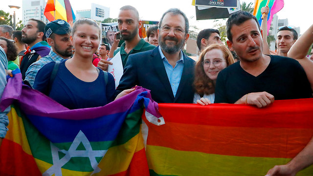 Ehud Barak joins a protest in Tel Aviv over Rafi Peretz's comments on 'conversion therapy' (Photo: AFP)