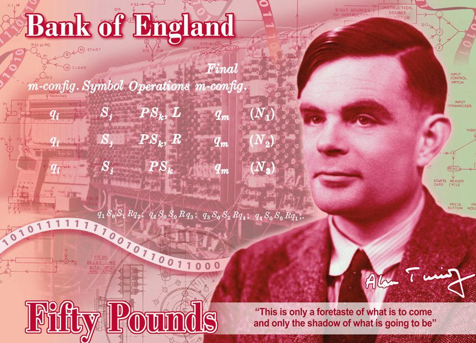 אלן טיורינג על שטר 50 פאונד בריטניה בנק אנגליה (צילום: EPA)