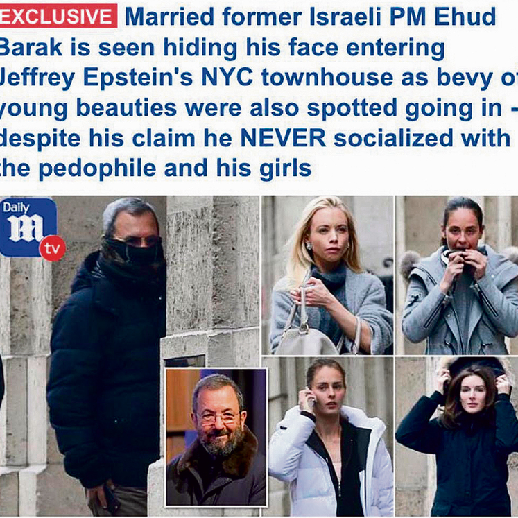 The Daily Mail headline and images about Ehud Barak