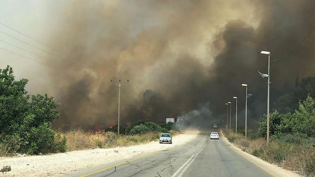 A forest fire burns near Ar'ara in northern Israel