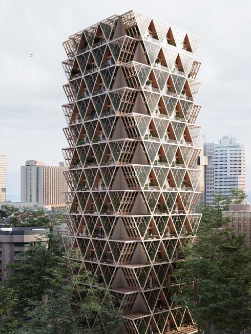 ''בית החווה''. הצעה למגדל מגורים אנושי-חקלאי (הדמיה: Studio Precht)