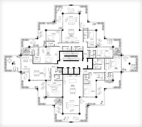 תוכנית קומה במגדל התל אביבי העתידי (תרשים: Studio Precht)
