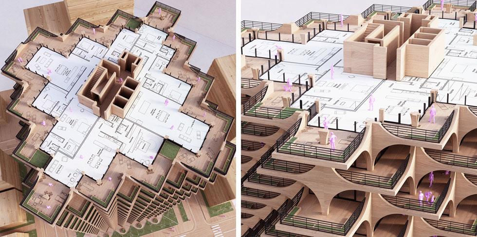 לדעתו של כריס פרכט, האדריכלות מהדהדת את הסגנון הבינלאומי (''באוהאוס'') של תל אביב, והיא תציע לדיירים דירות קרירות יותר (הדמיה: Studio Precht)