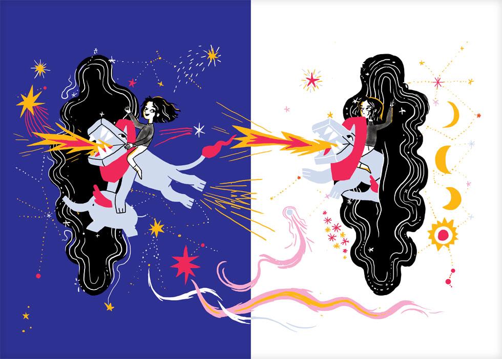 הביקור אינו שלם ללא הספרון של עינת צרפתי, שכתבה ואיירה סיפור מסגרת לחיות הדמיוניות, שחיות בין כוכבים ומטיילות יחד בשמיים (איור: עינת צרפתי)