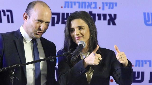 Naftali Bennett and Ayelet at the relaunch of their party last week  (Photo: Moti Kimchi)