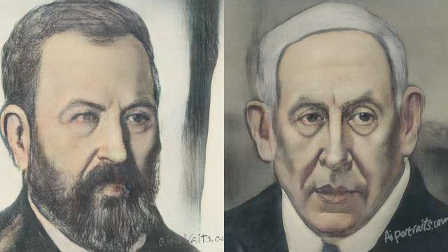אהוד ברק ובנימין נתניהו (צילום: AI Portraits)