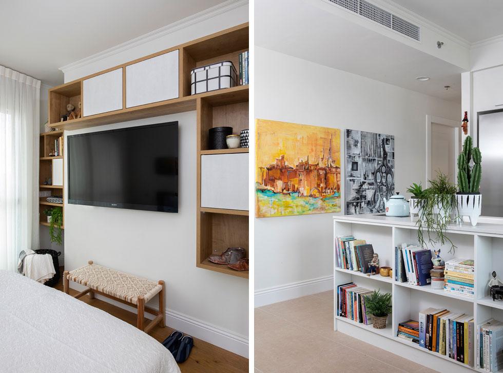 מימין: המעבר לשני החדרים. משמאל: חדר השינה, שבו אין ארון, אלא יחידות מדפים שתוכננו כדי להוסיף מקומות אחסון מבלי לחסום את המעבר (צילום: הגר דופלט)