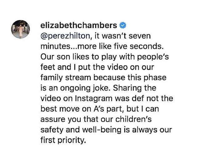 מגינה על בעלה. הפוסט של אליזבת' צ'מברס (צילום: אינסטגרם)