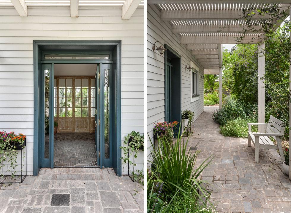 מימין: השביל שמוביל לדלת הכניסה, בצד הבית. משמאל: מבט אל חדר המבואה  (צילום: עודד סמדר)
