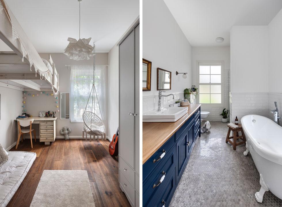 מימין: חדר הרחצה של ההורים, שבו האמבטיה היחידה (והפופולרית) בבית. משמאל חדרה של הבת הבכורה (צילום: עודד סמדר)
