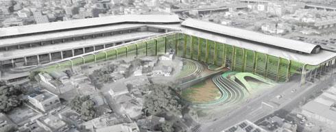 חקלאות אנכית. ההצעה של ארטיום יונוסוב (הדמיה: ארטיום יונוסוב, המחלקה לארכיטקטורה, בצלאל אקדמיה לאמנות ועיצוב, ירושלים)