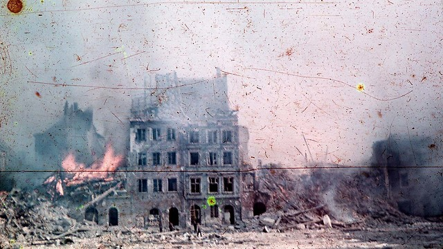 Warsaw Old Town in flames during the uprising