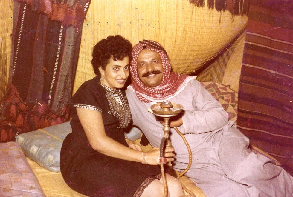 """עם בעלה המנוח, שלמה ז""""ל. """"משה דיין אמר לו: 'אתה לא רק סולימן – אתה סולימן הגדול"""" (צילום: אלבום פרטי)"""