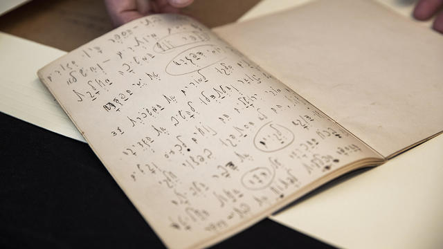 Kafka's exercise book in which he practiced Hebrew
