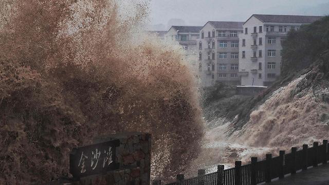 סופה טייפון לקימה סין (צילום: AFP)