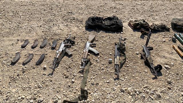 The Kalashnikov rifles carried by the four Gazans (Photo: IDF Spokesperson's Unit)