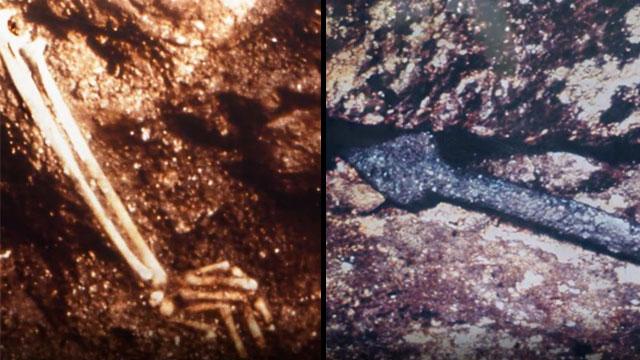 אחד הממצאים הקשים המעידים על הקרוב: זרוע של בחורה יהודייה ולצדה חנית. נלחמו עד טיפת הדם האחרונה (מכון מגלי