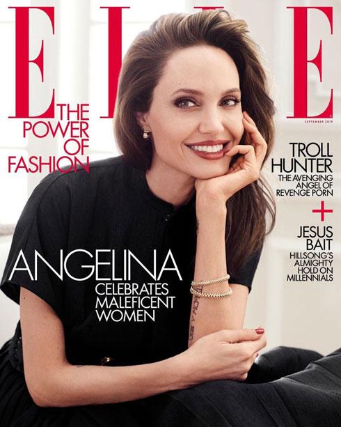 אנג'לינה ג'ולי בשער וראיון למגזין Elle האמריקאי, הצליחה השנה לתת פייט ראוי למתחרה ווג. ג'ולי לובשת מערכת לבוש שחורה של דיור ונראית רעננה מתמיד  (צילום: שער המגזין)