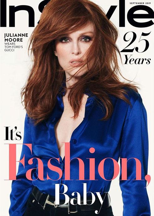 השחקנית ג'וליאן מור נבחרה להוביל את חגיגות חצי היובל של מגזין Instyle, לבושה בווינטג' גוצ'י כמחווה לקולקציה של טום פורד במותג בשנת 1995. חדי זיכרון יבחינו כי מור לבושה בתלבושת זהה לזו שלבשה מדונה בטקס פרסי המוזיקה של MTV באותה שנה (צילום: שער המגזין)