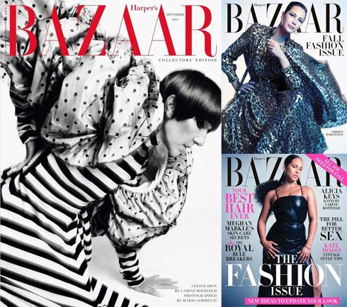 סלין דיון, כריסטי טרלינגטון ואלישיה קיז זכו כל אחת לשער בגיליון האופנה של הרפר'ס בזאר האמריקאי. טרלינגטון בת ה-50 נמצאת בקאמבק לוהט, לבושה שמלה מטאלית של המותג סלין; בעוד סלין דיון הסתפקה בחיבור דרמטי של נקודות ופסים בעיצוב מארק ג'ייקובס (צילום: שער המגזין)