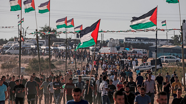 Friday's border protests in Gaza (Photo: AFP)