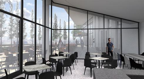 בית הקפה מתחת לשיפוע האודיטוריום (הדמיה: גריל אופנהיים אדריכלות ועיצוב פנים באדיבות עיריית תל-אביב-יפו)