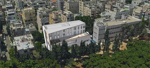 הנה הדמיית המרכז העתידי. גבוה יותר בקומתיים. אפשר לראות את המרפסת שבנויה בנסיגה (הדמיה: גריל אופנהיים אדריכלות ועיצוב פנים באדיבות עיריית תל-אביב-יפו)