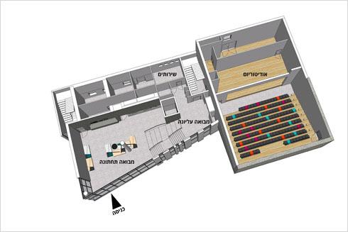 תוכנית הקומה, כולל האודיטוריום שישרת את כל תושבי העיר (הדמיה: גריל אופנהיים אדריכלות ועיצוב פנים באדיבות עיריית תל-אביב-יפו)