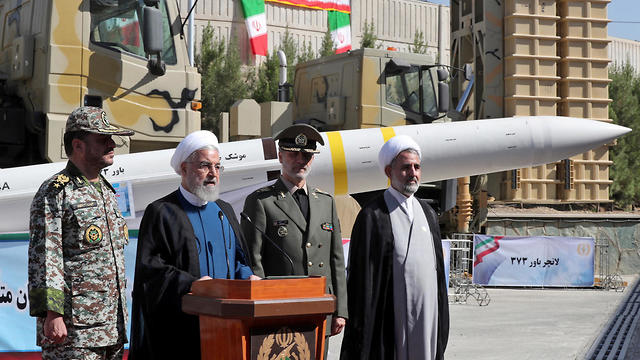 Iranian President Hassan Rouhani at unveiling ceremony for Iranian missiles (Photo: EPA)