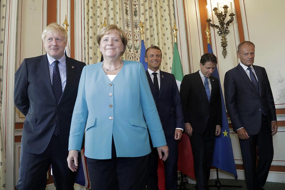 בוריס ג'ונסון אנגלה מרקל עמנואל מקרון ג'וזפה קונטה דונלד טוסק פסגת G7 ביאריץ צרפת (צילום: AP)
