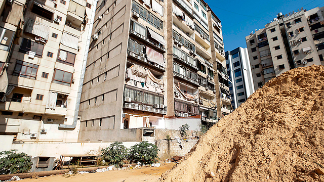 Damage from a drone crash in the Dahieh neighborhood in Beirut (Photo: AFP)
